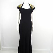 ESCADA Damen Abendkleid Schwarz Perlen Muster Gr. 38 Dress Stretch