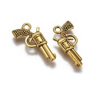 4 Gun Charms Antique Gold Tone Pistol Pendants Western Findings 2 Sided