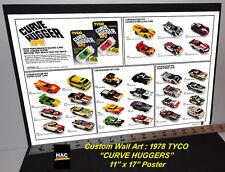 "Custom TYCO Wall Art - 1978 TYCO ""CURVE HUGGER HP2 Cars""  11T x 17W Hi QA POSTER"