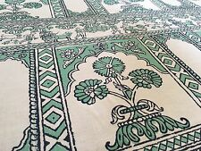 China Seas Quadrille Linen Upholstery Fabric Sultan II / Mint  on White 11.75 yd