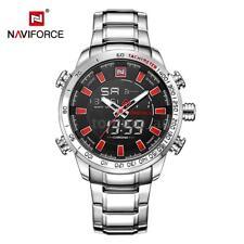Fashion Naviforce Dual Time Watch Quartz Sports Men's Wrist Watch G7y0 Silver