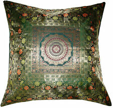 "Large 26"" Green Pillow Cushion Cover Silk Brocade Mandala Throw Indian Decor"