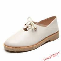 Brogues Womens Leather Lace Up Round Toe Shoes Oxfords Casual pearl Bowtie Flats