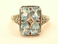 Estate Vintage Sterling Silver CNA Signed Blue Topaz Diamond Filigree Ring