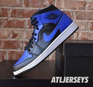 Nike Air Jordan 1 Mid Black Hyper Royal Black 554724-077 GS Men Size