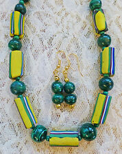 MALACHITE, VINTAGE STRIPED AFRICAN TRADE BEAD necklace, earrings 19 1/2""