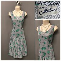 Vintage Classic Collection Green Floral Pleated Retro Dress UK 18 EUR 46
