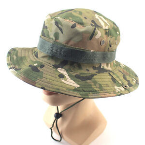 Men Cap Wide Brim Military Sun Camo Bucket Hat Boonie Hunting Fishing Caps
