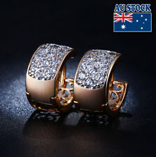 Crystal Pave Circle Hoop Earrings Elegant 18K Gold Filled Clear Cz