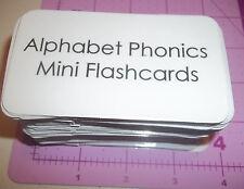 104 miniature laminated Alphabet Phonics Word flash cards.  3.25x2 inches.