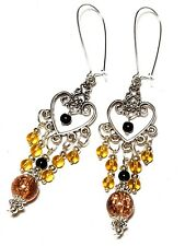 Amber & Black Chandelier Earrings Tibetan Silver Style Extra Long Hook Glass