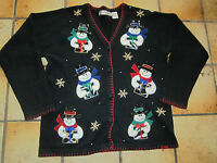 Victoria Jones Ugly Christmas Sweater Black Snowman Sequins SZ Small Party