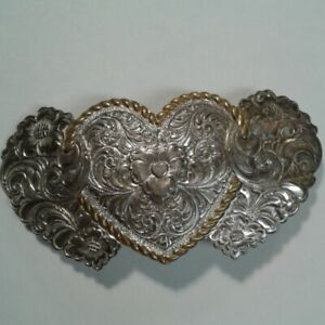 Crumrine Hearts Flowers Silver Plate over Bronze Belt Buckle Ornate Gold Trim