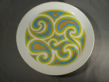 "7 1970s Psychedelic Paisley Mikasa 10-3/8"" Plates Pivotal Tides 5002 Ben Seibel"