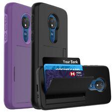 For Moto G7 Power / Moto G7 Supra Case, Shockproof Card Holder Slot wallet Case