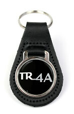 Triumph TR4A Logo Quality Black Leather Keyring