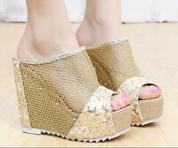 Summer Womens Mesh Rivet Platform Wedge Open toe Heels Slingbacks Sandals Shoes