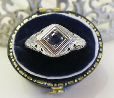 Natural Sapphire Sterling Silver Filigree Ring Vintage Art Deco Sz 6.75 Gift Box