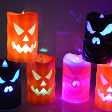 Flameless Halloween Candle Light LED Lamp Pumpkin Skull Spider Party Decor New