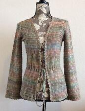 St. John Cardigan Multi Color Knit Sweater Tie Waist