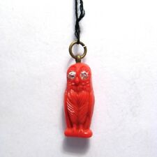 Rare 1930-40's Japan Red Celluloid Owl Jeweled/Sparking Eyes Charm/Prize Kobe?