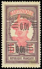 Martinique 1922 1c on 15c DOUBLE SURCHARGE MINT #108a HR CV$190.00