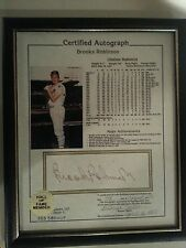 Brooks Robinson Certified and Notarized Autograph with Stat Sheet Framed