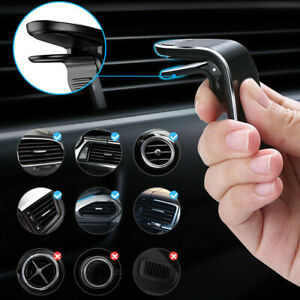 In Car Magnetic Phone Holder Fits Air Vent Universal Clip Mount Bracket L-Shape
