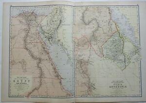 Nile Valley Egypt Nubia Abyssina Sudan Red Sea Cairo Alexandria 1882 Blackie Map