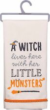 Halloween~Witch lives here with her Little Monsters~Dish Towel~Hand/Kitchen/Tea