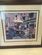 """BILL LEVERS 1995 SIGNED FRAMED PRINT """"DOWNTOWN PHILLY"""" PHILADELPHIA"""