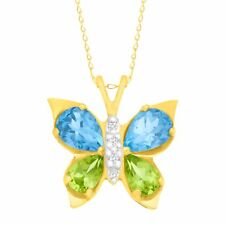 10kt Yellow Gold Peridot and Blue Topaz Diamond Accent Butterfly Pendant 18