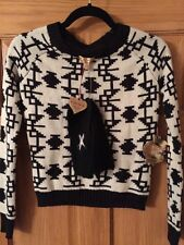 PRINCESS VERA WANG Ikat Black White SWEATER XS Hand Warmer Gloves Set Women's