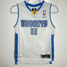Reebok Basketball Jersey Youth Boys Size M White Denver Nuggets #11 Earl Boykins