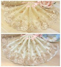 "6.5""*1Y Embroidered Floral Tulle Lace Trim~Deep Beige+Dark Gold~Gorgeous Night~"