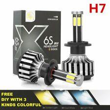 2x H7 6Sides COB Chip 3000K 6000K 8000K Led Headlight Kit Car Lights Hi/Lo Beam