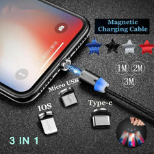 3 in 1 LED Magnetic Type-C Micro USB IOS Adapter Charge Cable For iPhone Samsung