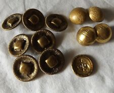 Vintage Brass Gold Tone Raised Center Sewing Buttons Metal Shank Mixed lot 12