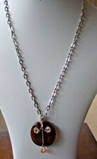 """Wire Wrapped Brown Glass Disk & Amber Bead on a 20"""" Silver Plated Chain"""