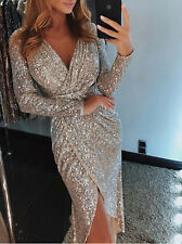 UK Women Sequin Glitter Long Dress Sparkly Bodycon Evening Cocktail Party Dress