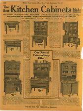 1911 ADVERTISEMENT 2 Page Hoosier Type Kitchen Cupboards Cabinets