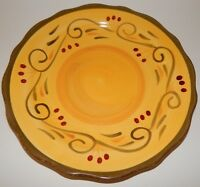 Home Trends Italian Villa Salad Plate Yellow Green Scalloped Edge 6578970