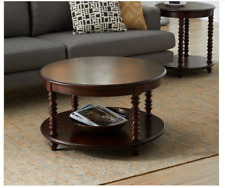 Coffee Table Living Room Clearance Round Storage 2 Tier Accent Cocktail Wooden