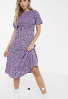 Influence Dress shirred tiered midi lilac ditsy floral print Size 8 EO46 New