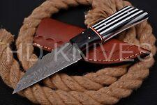 8 inch HD Custom fixed blade Damascus steel full tang Hunter skinner knife 134