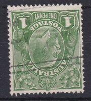 G640) Australia 1926 1d Green KGV Small mult wmk perf 13½ x 12½ variety