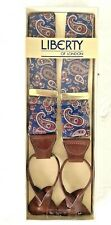 Vintage Liberty Of London Paisley Braces Suspenders New In Box NIB Blue/red SILK