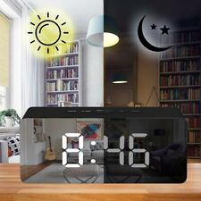 Mirror Digital LED Alarm Clock Snooze Time Night Light Thermometer Home Travel R