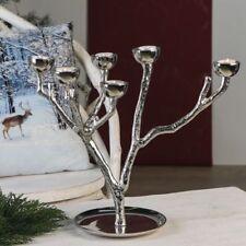 Casablanca Teelichtleuter Tree Aluminium vernickelt silber 6 Teelichter 47 x 36