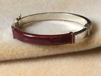 Milor Italy 925 Sterling Vintage Red Enamel Hinged Bangle Bracelet #BR28
